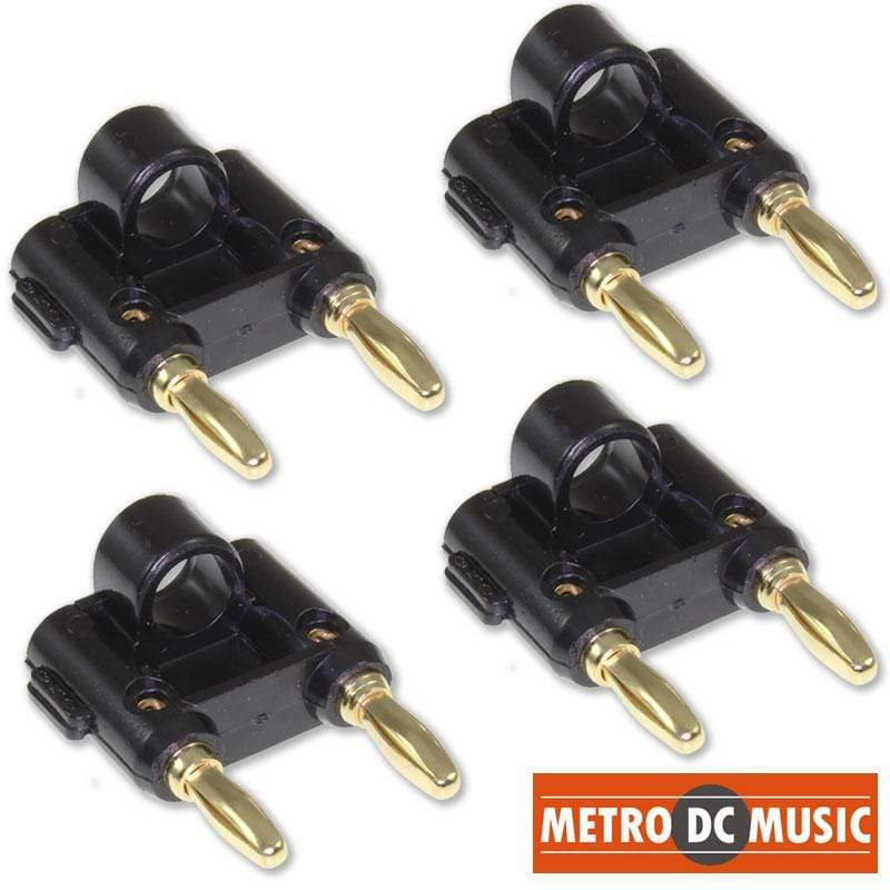 METRO DC MUSIC BANANA PLUGS BINDING POSTS 4X MDM Audio Black Dual-Banana Plug with Gold-Plated Contacts DJ Speaker Plugs
