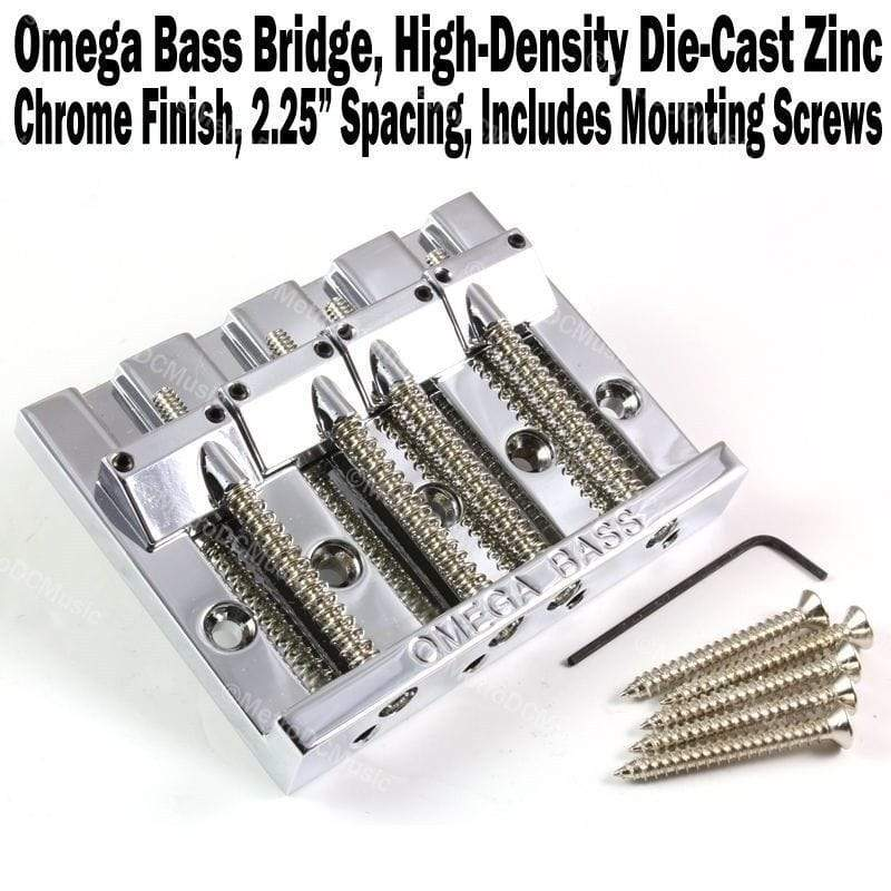 "METRO DC MUSIC BASS BRIDGES & COVERS OMEGA 4-String Bass Bridge CHROME High Mass Badass Type w/ Screws 2-1/4"" NEW"