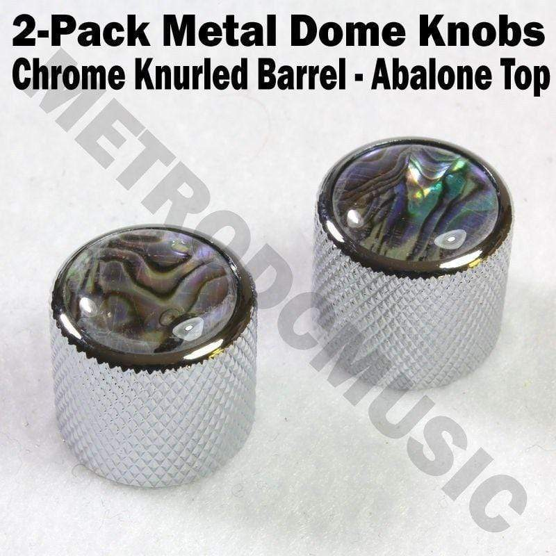 METRO DC MUSIC GUITAR KNOBS TIPS ACCESSORY KITS 2-Pack Metal Dome Knobs - Chrome Knurled Barrel - Abalone Top Guitar Control NEW