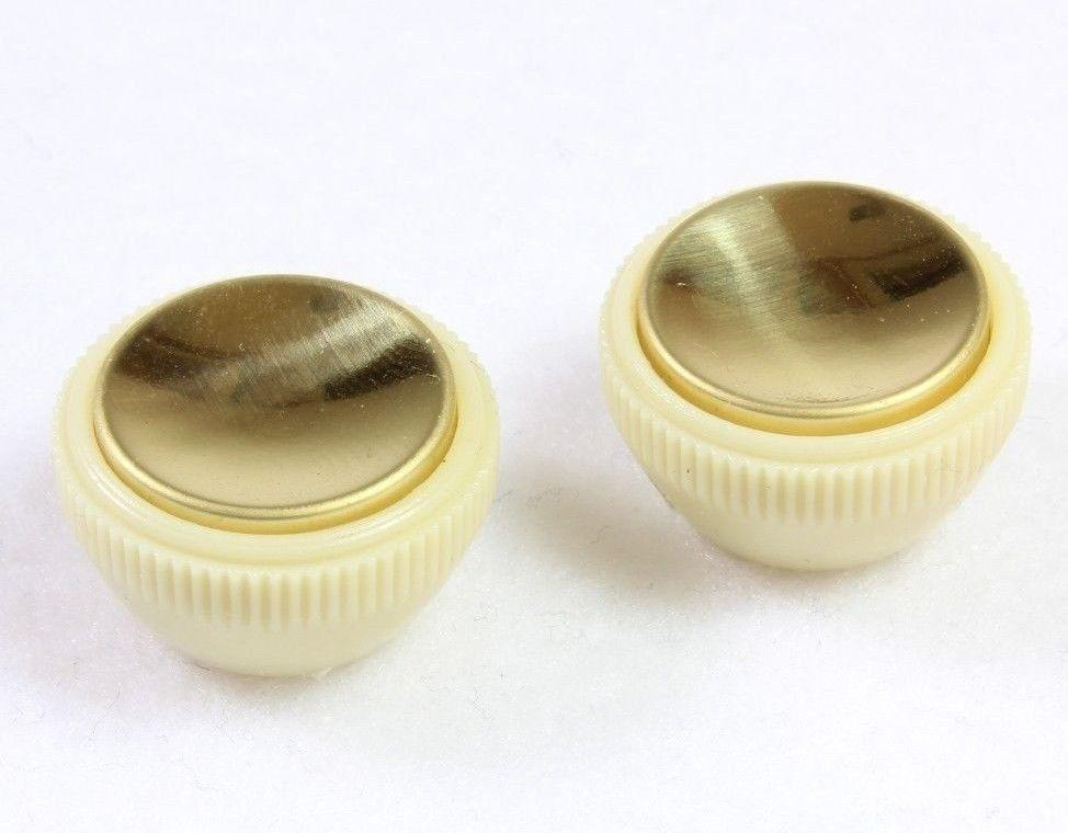 METRO DC MUSIC GUITAR KNOBS TIPS ACCESSORY KITS 2-Pack Vintage-Style Tea Cup Knobs for Hofner Bass Gold Center Beatles