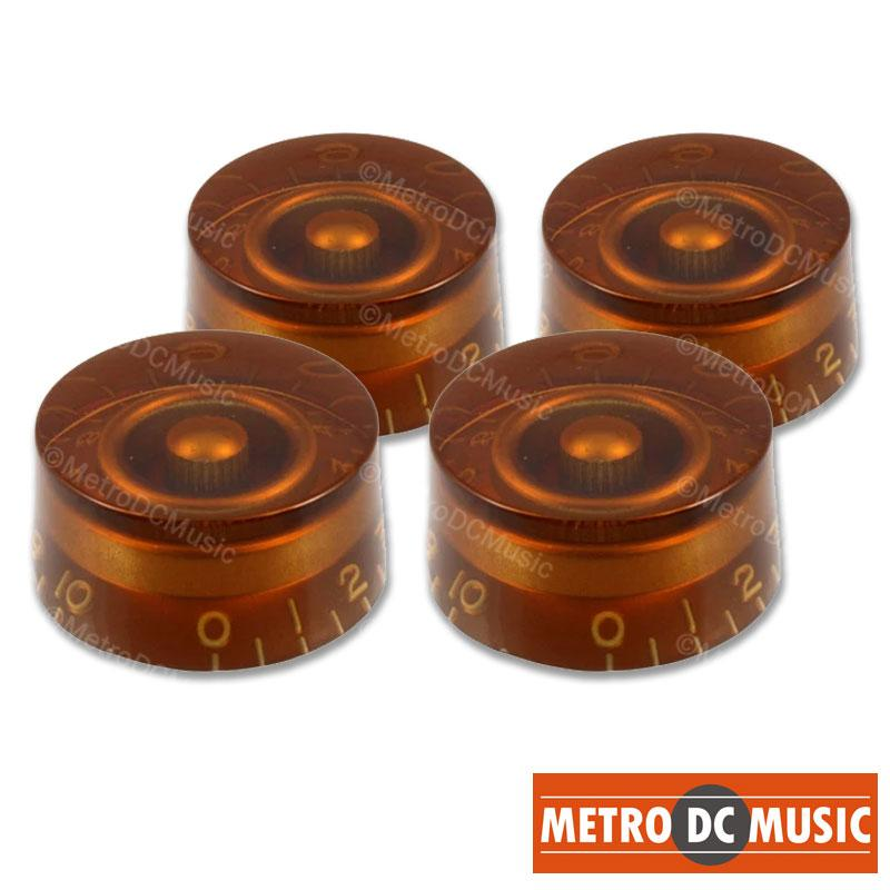 METRO DC MUSIC GUITAR KNOBS TIPS ACCESSORY KITS 4-Pack Amber Speed Knobs Embossed Numbers for Gibson Les Paul Split-Shaft Pots