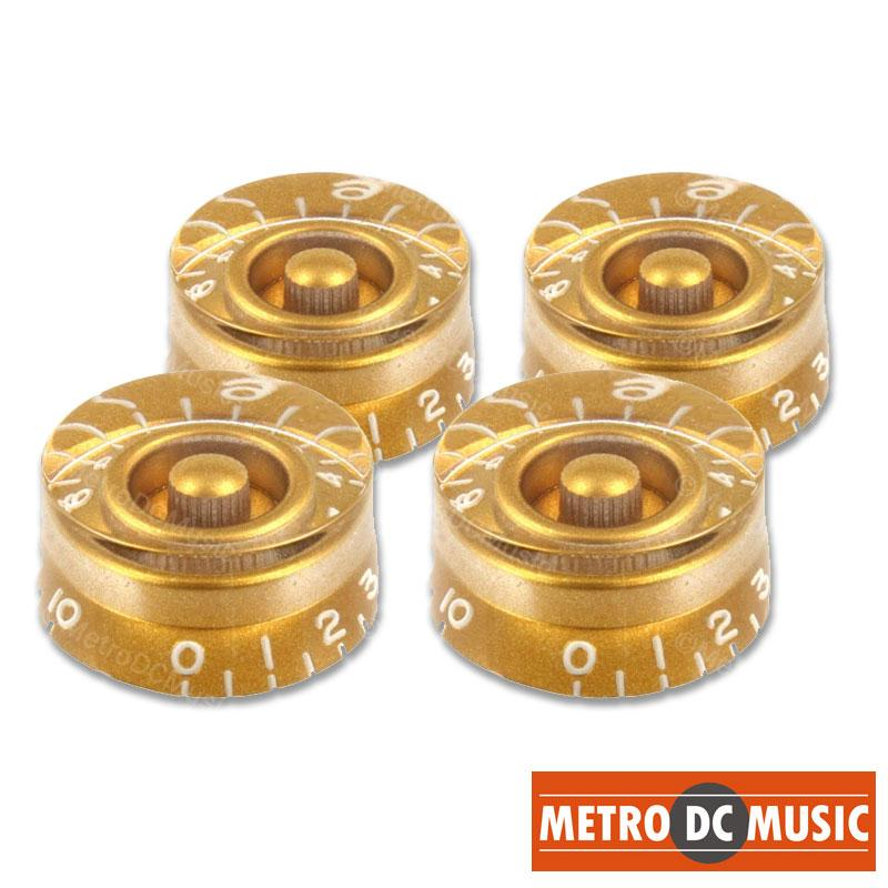 METRO DC MUSIC GUITAR KNOBS TIPS ACCESSORY KITS 4-Pack Gold Speed Knobs Embossed Numbers for Gibson Les Paul Split-Shaft Pots