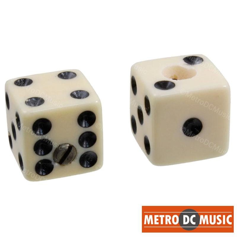 "METRO DC MUSIC GUITAR KNOBS TIPS ACCESSORY KITS Set of 2 Unmatched Dice Knobs CREAM Guitar fits 1/4"" 6.4mm Solid Shaft Pots NEW"