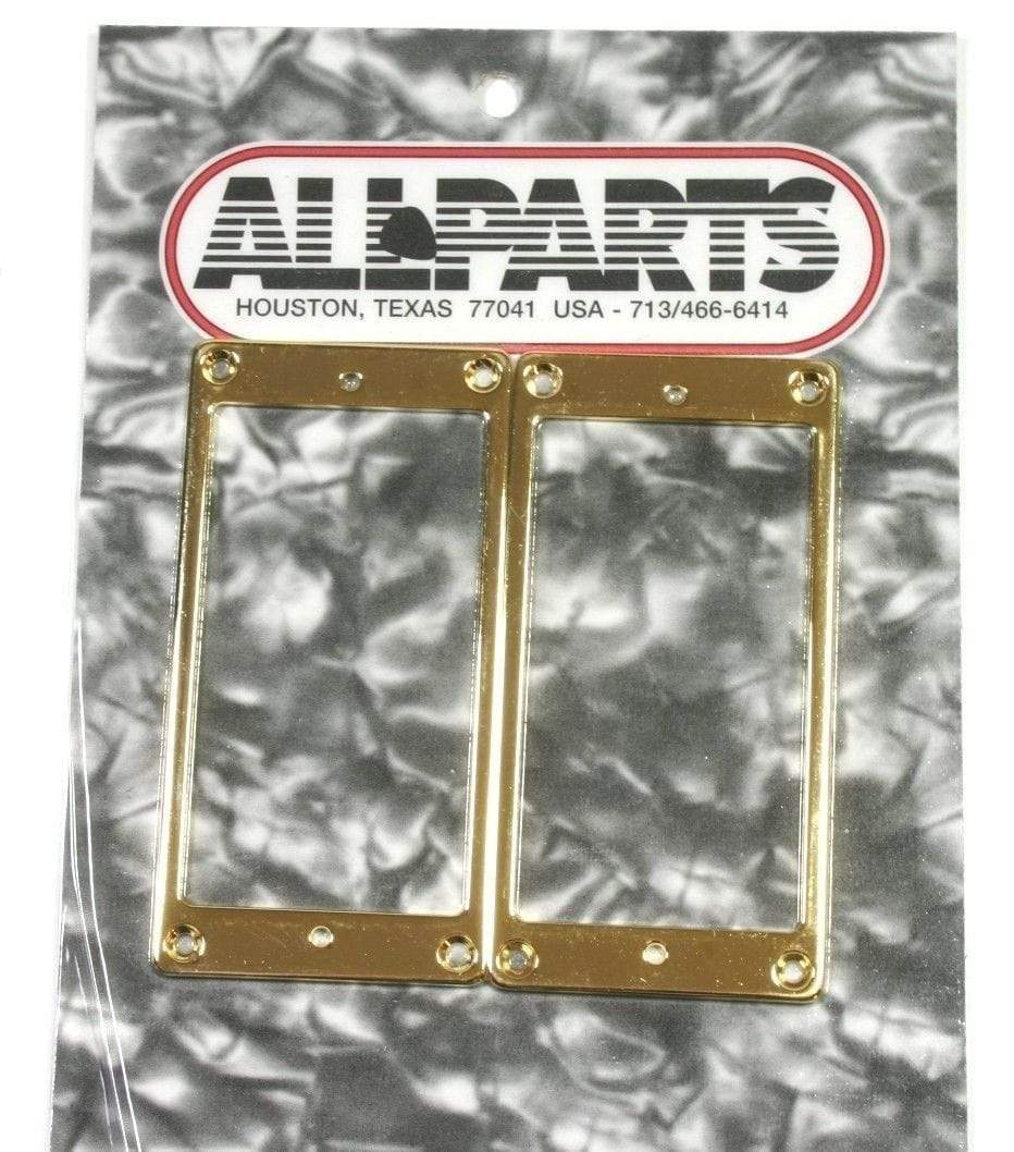 "METRO DC MUSIC PICKUP RINGS Set of 2 FLAT METAL HUMBUCKING PICKUP RINGS GOLD FINISH 1/16"" THICK NEW"