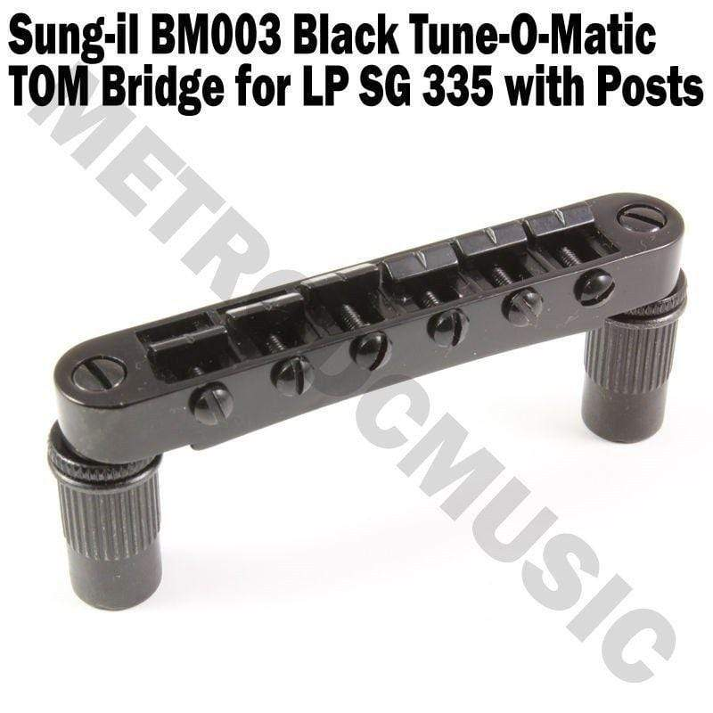 METRO DC MUSIC TOM & HARDTAIL BRIDGES Tune-O-Matic Bridge BM003 Black by Sung-il Korea for LP SG 335 TOM NEW