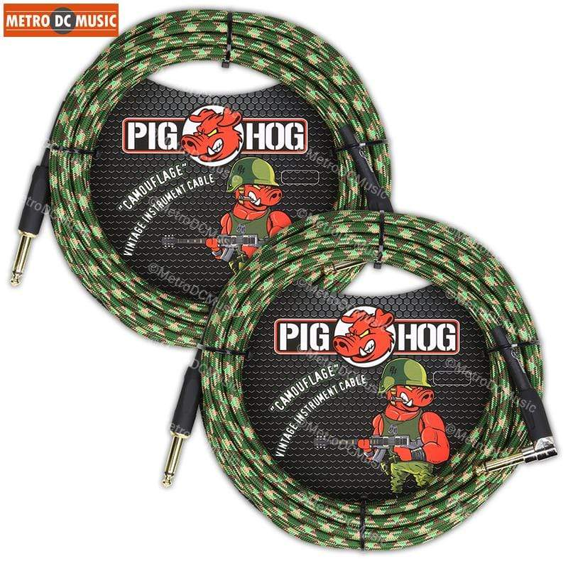 "PIG HOG GUITAR INSTRUMENT CABLES 2-Pack Pig Hog 1/4"" Camouflage Guitar Instrument Cable Cord 20ft Right-Angle"