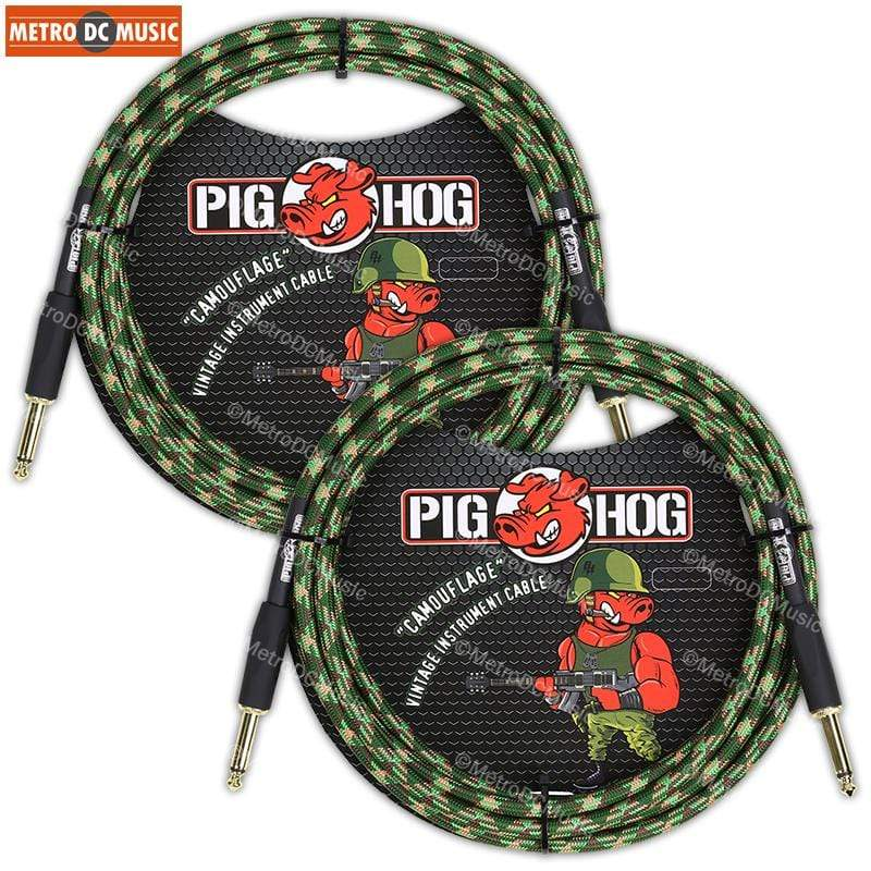 "PIG HOG GUITAR INSTRUMENT CABLES 2-Pack Pig Hog 1/4"" Camouflage Tweed Guitar Instrument Cable Cord 10ft"