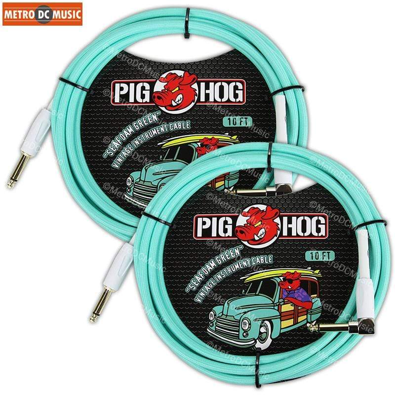 "PIG HOG GUITAR INSTRUMENT CABLES 2-Pack Pig Hog 1/4"" Seafoam Green Guitar Instrument Cable Cord 10ft Right-Angle"