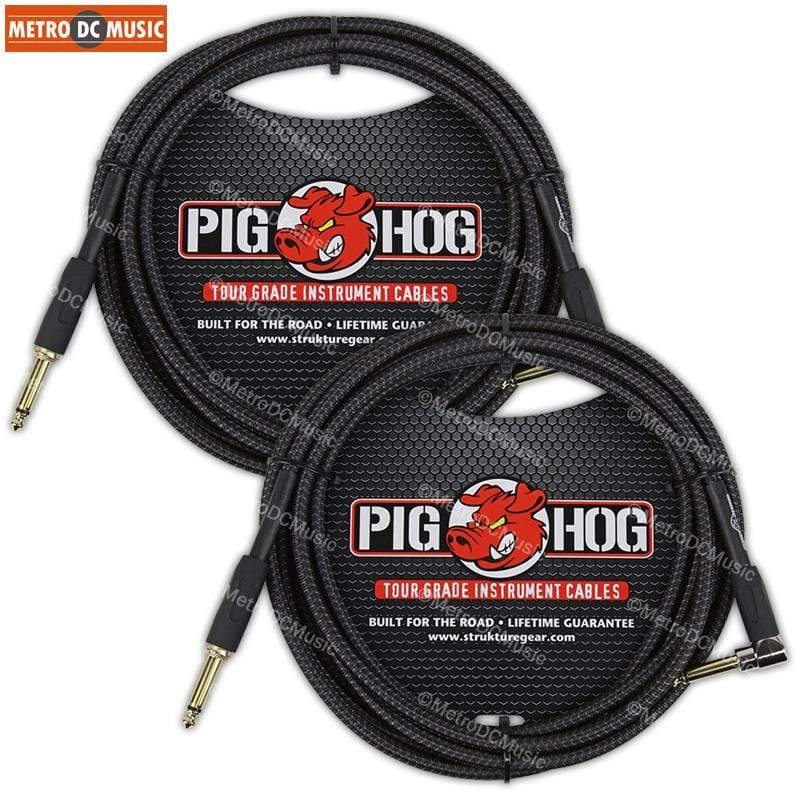 PIG HOG GUITAR INSTRUMENT CABLES 2-Pack PIG HOG 10 ft BLACK Right-Angle GUITAR PATCH CABLE 1/4 CORD PigHog NEW