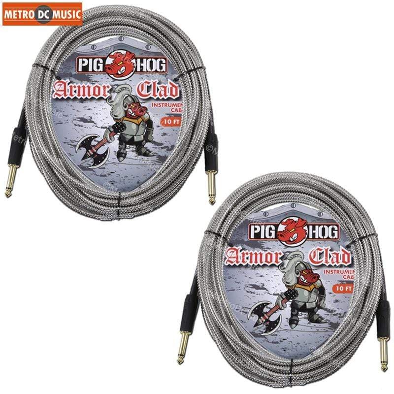 "PIG HOG GUITAR INSTRUMENT CABLES 2-Pack Pig Hog 10ft Armor Clad Guitar Instrument Cable Cord Gold 1/4"" Plugs NEW"