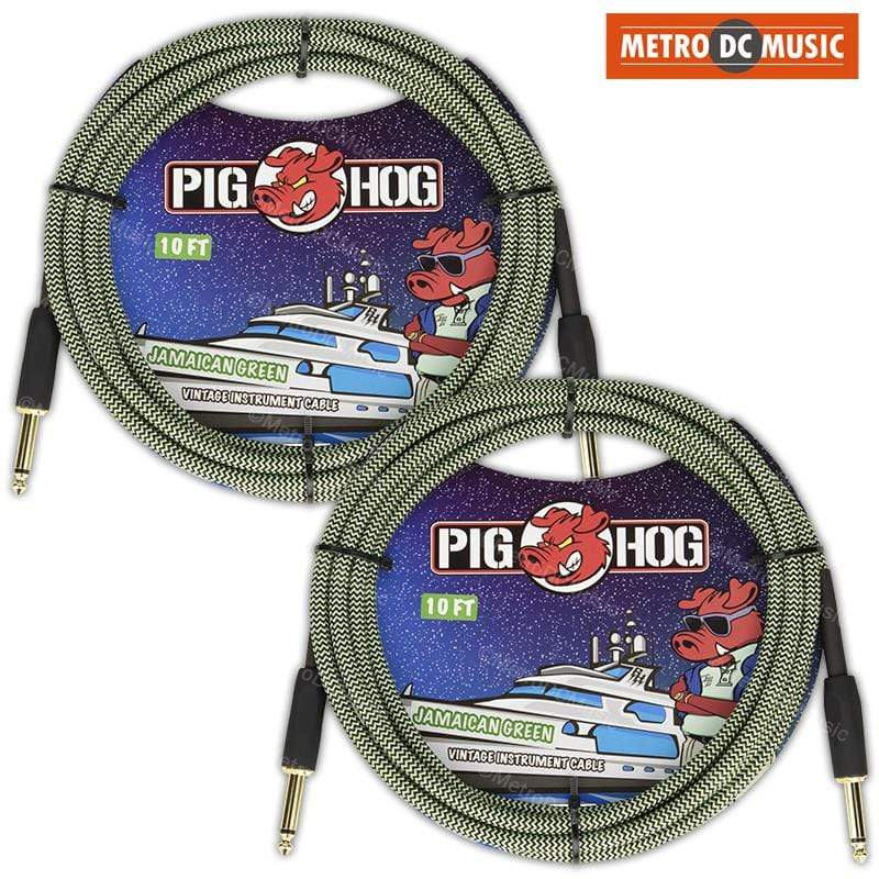 PIG HOG GUITAR INSTRUMENT CABLES 2-Pack Pig Hog 10ft Jamaican Green Woven Tweed Guitar Instrument Cable Cord 1/4""