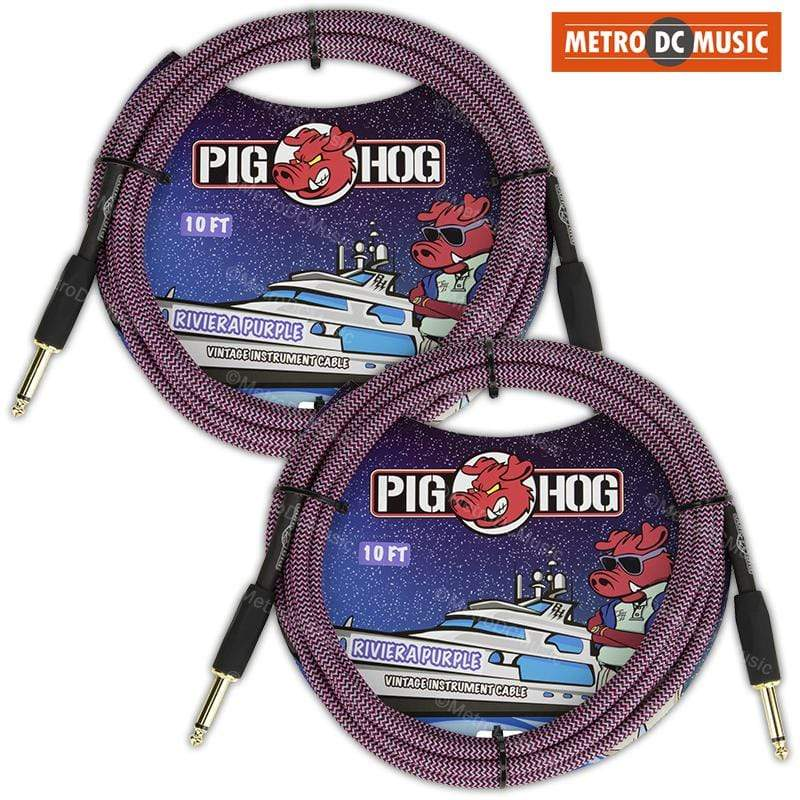 PIG HOG GUITAR INSTRUMENT CABLES 2-Pack Pig Hog 10ft Riviera Purple Woven Tweed Guitar Instrument Cable Cord 1/4""