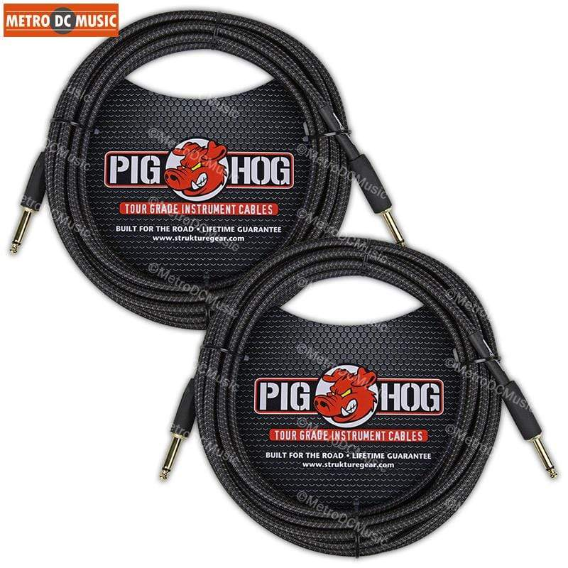PIG HOG GUITAR INSTRUMENT CABLES 2-Pack PIG HOG 20 ft BLACK WOVEN GUITAR INSTRUMENT PATCH CABLE 1/4 CORD PigHog