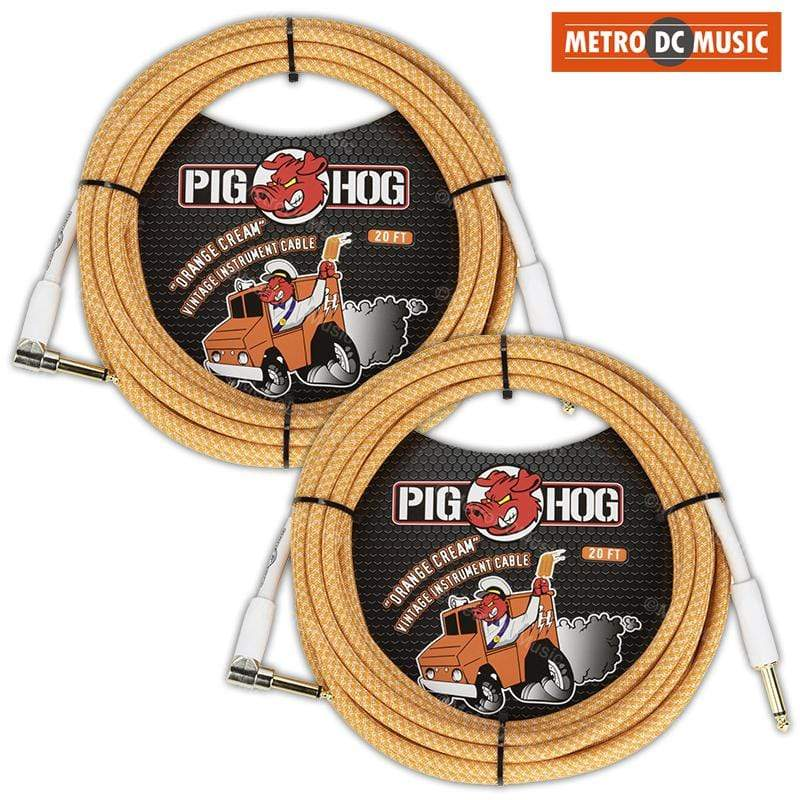 PIG HOG GUITAR INSTRUMENT CABLES 2-Pack Pig Hog 20ft Right-Angle Orange Creme Woven Tweed Guitar Cable Cord 1/4""