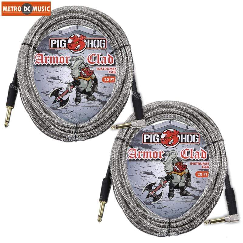 "PIG HOG GUITAR INSTRUMENT CABLES 2-Pack Pig Hog Armor-Clad 1/4"" Guitar Instrument Cable Cord 20ft Right-Angle"