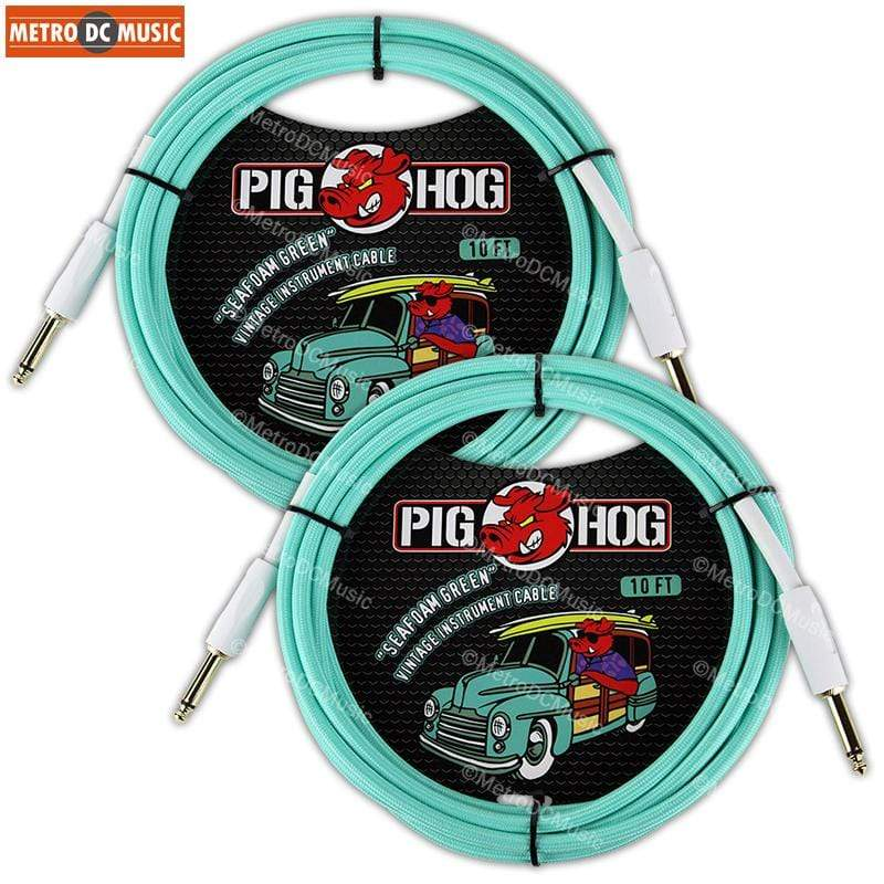PIG HOG GUITAR INSTRUMENT CABLES 2-PACK PIG HOG SEAFOAM GREEN 10 FOOT GUITAR INSTRUMENT BASS PATCH CABLE 1/4 CORD