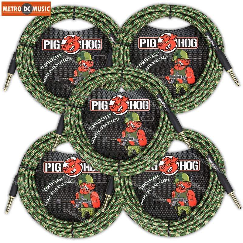 "PIG HOG GUITAR INSTRUMENT CABLES 5-Pack Pig Hog 1/4"" Camouflage Tweed Guitar Instrument Cable Cord 20ft"