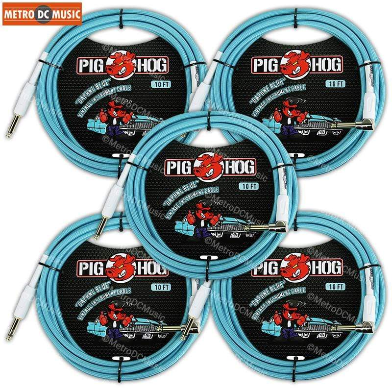 "PIG HOG GUITAR INSTRUMENT CABLES 5-Pack Pig Hog 1/4"" Daphne Blue Guitar Instrument Cable Cord 10ft Right-Angle"