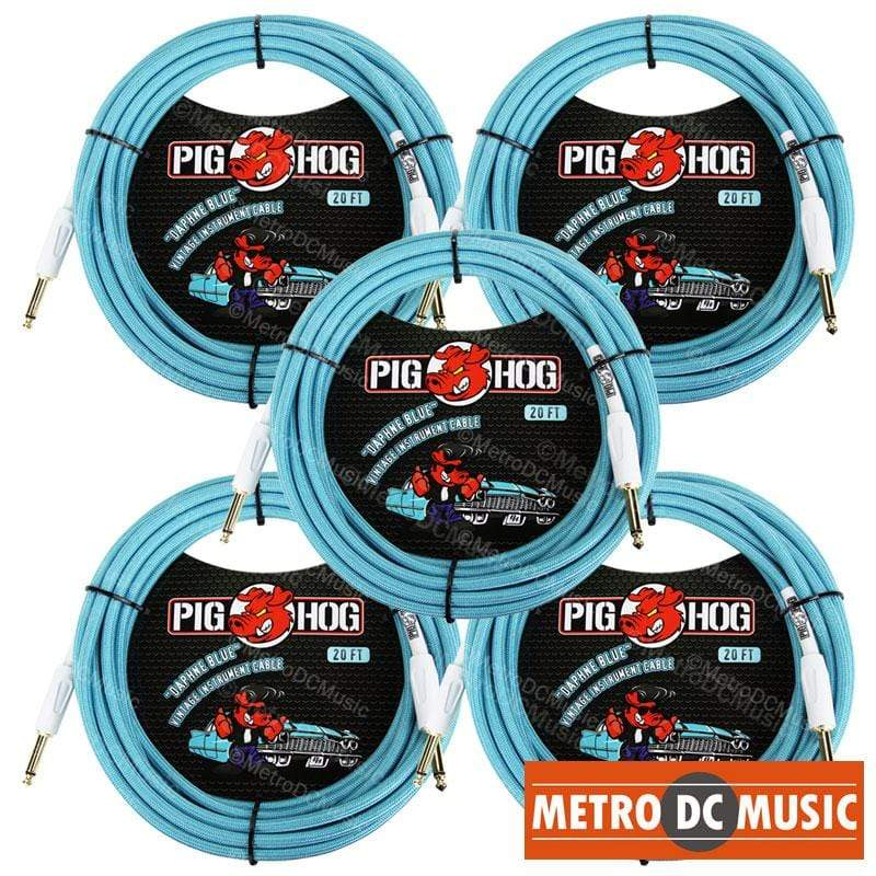 "PIG HOG GUITAR INSTRUMENT CABLES 5-Pack Pig Hog 1/4"" Daphne Blue Guitar Instrument Cable Cord 20ft"