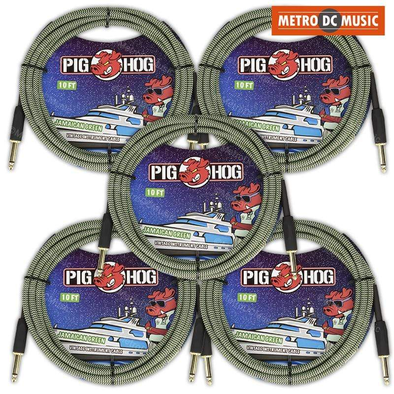 PIG HOG GUITAR INSTRUMENT CABLES 5-Pack Pig Hog 10ft Jamaican Green Woven Tweed Guitar Instrument Cable Cord 1/4""