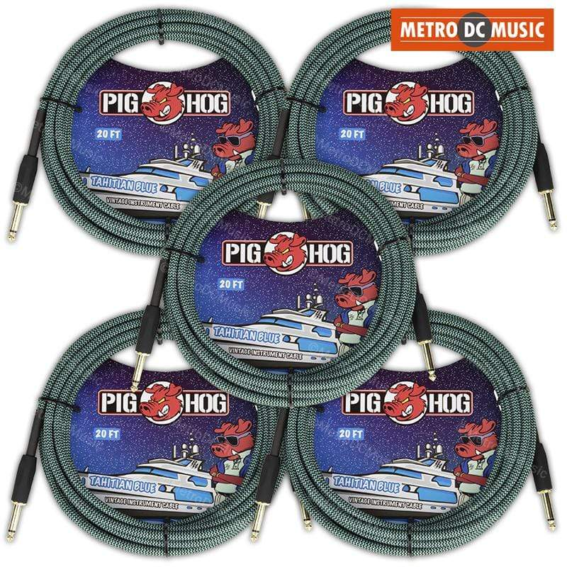 PIG HOG GUITAR INSTRUMENT CABLES 5-Pack Pig Hog 20ft Tahitian Blue Woven Tweed Guitar Instrument Cable Cord 1/4""