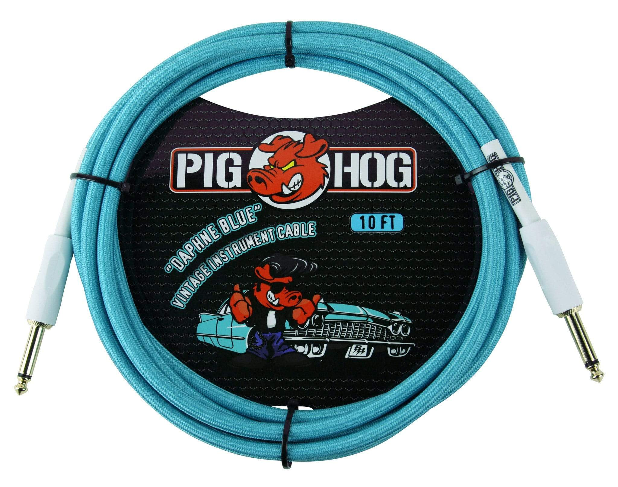 "PIG HOG GUITAR INSTRUMENT CABLES Pig Hog 1/4"" Daphne Blue Guitar Instrument Cable Cord 10ft"