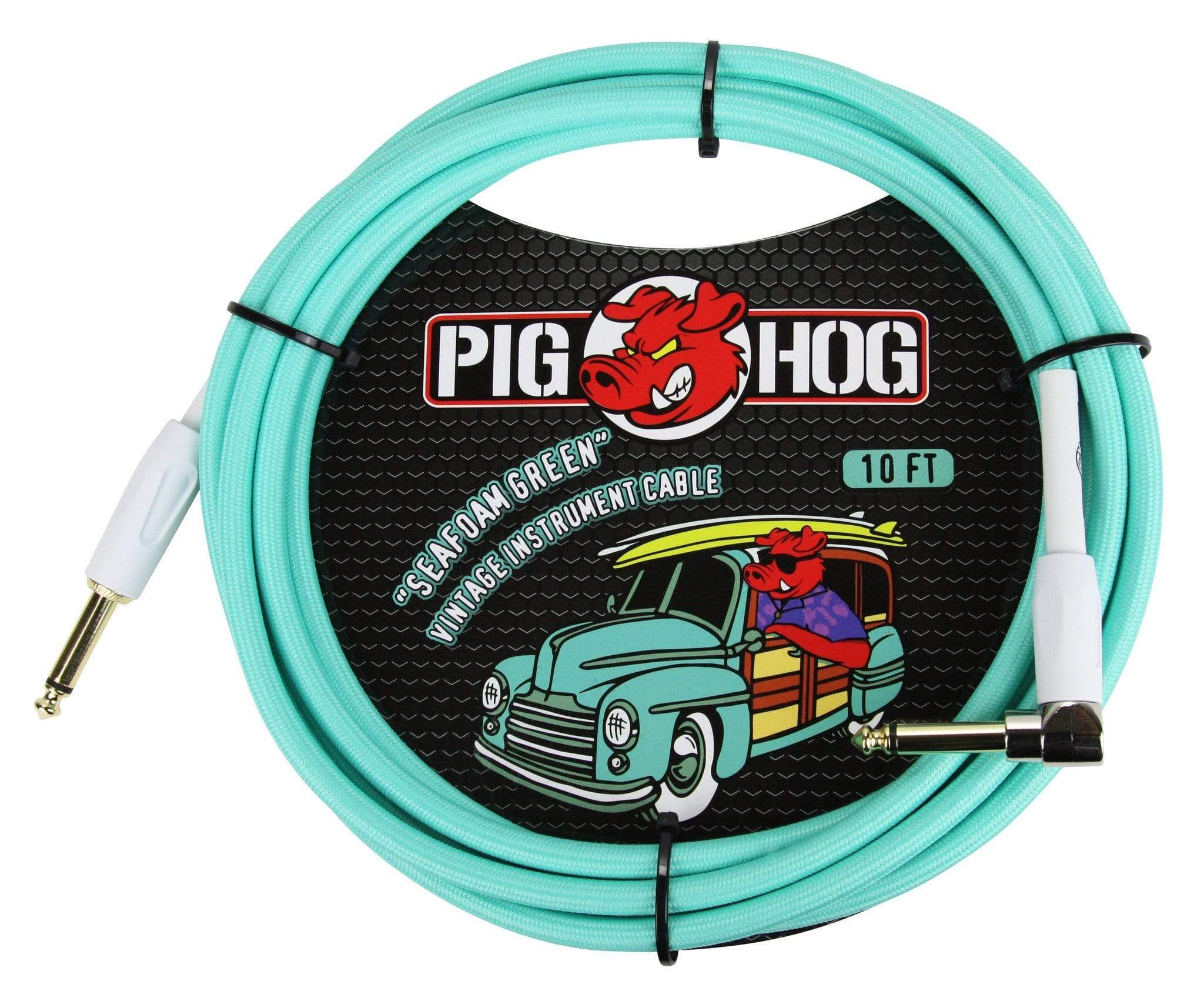 "PIG HOG GUITAR INSTRUMENT CABLES Pig Hog 1/4"" Seafoam Green Guitar Instrument Cable Cord 20ft Right-Angle"