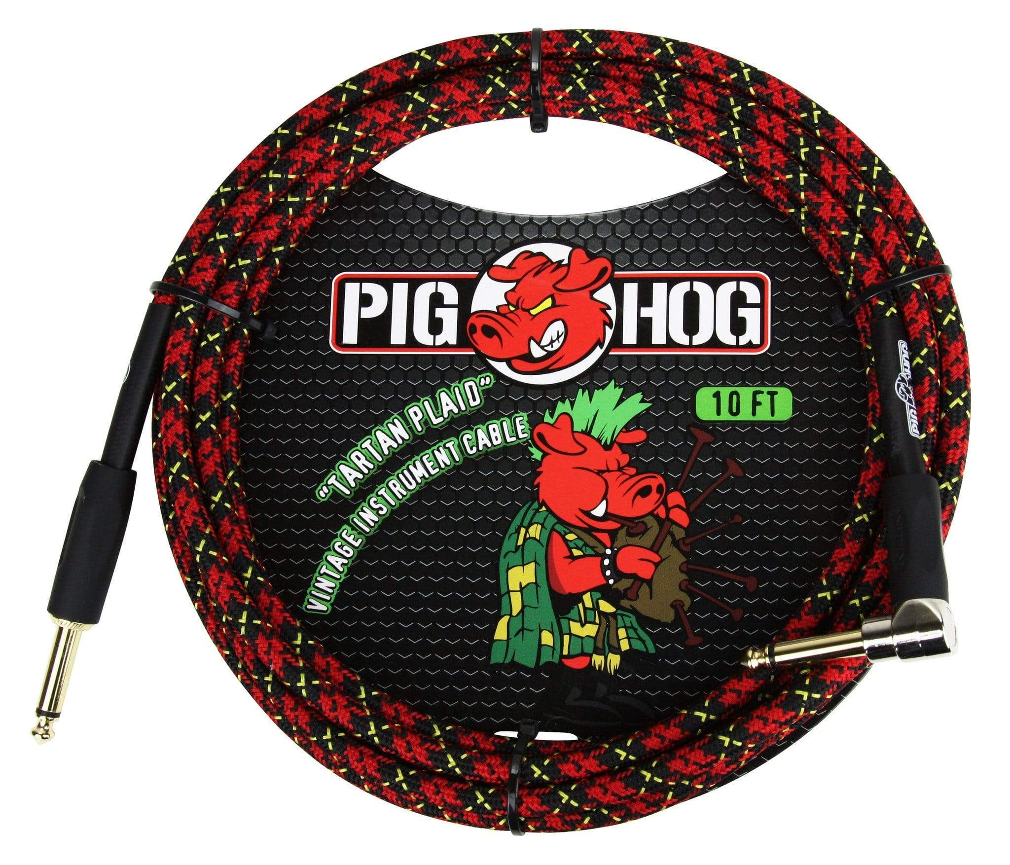 "PIG HOG GUITAR INSTRUMENT CABLES Pig Hog 1/4"" Tartan Plaid Tweed Guitar Instrument Cable Cord 20ft Right-Angle"