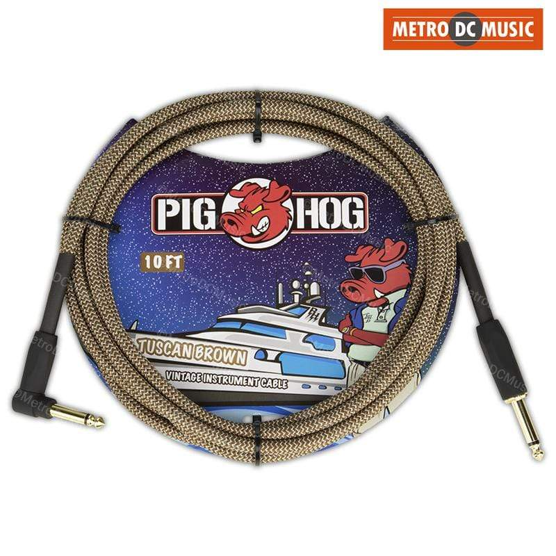PIG HOG GUITAR INSTRUMENT CABLES Pig Hog 10ft Right-Angle Tuscan Brown Tweed Guitar Instrument Cable Cord 1/4""