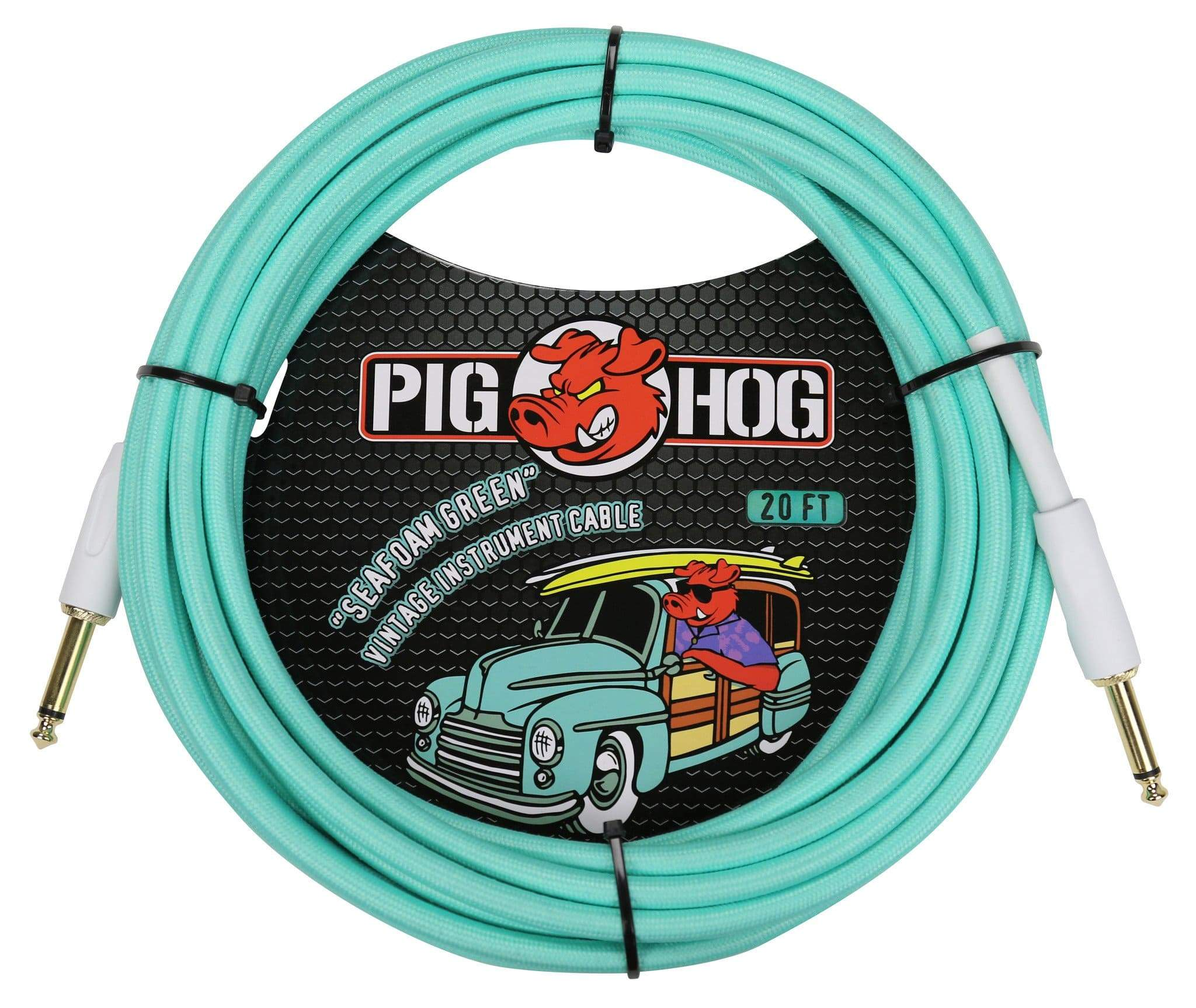 PIG HOG GUITAR INSTRUMENT CABLES PIG HOG SEAFOAM GREEN 20' FOOT GUITAR INSTRUMENT BASS PATCH CABLE 1/4 MONO CORD