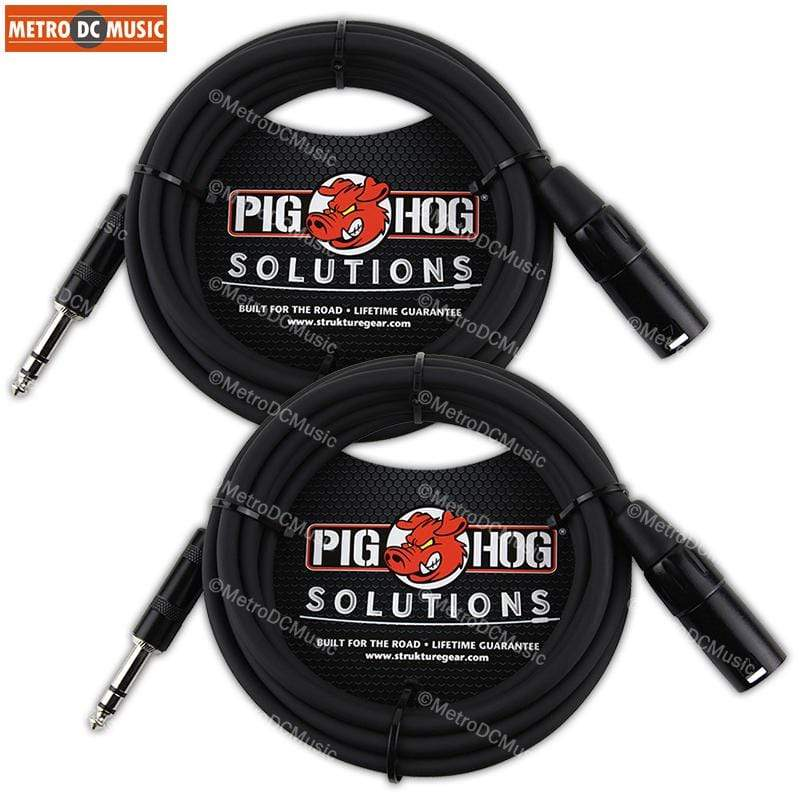 PIG HOG INTERCONNECT CABLES 2-Pack Pig Hog 15ft TRS Male to XLR Male Balanced Cable