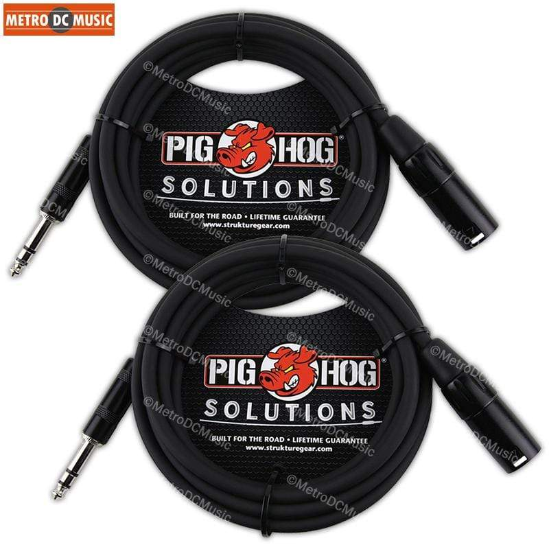 PIG HOG INTERCONNECT CABLES 2-Pack Pig Hog 25ft TRS Male to XLR Male Balanced Cable