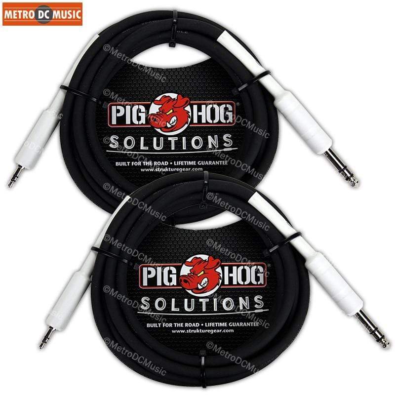 "PIG HOG INTERCONNECT CABLES 2-Pack Pig Hog 3 ft 1/8 Mini Plug to 1/4"" TRS Plug Cable Stereo MP3 Phone Mixer"