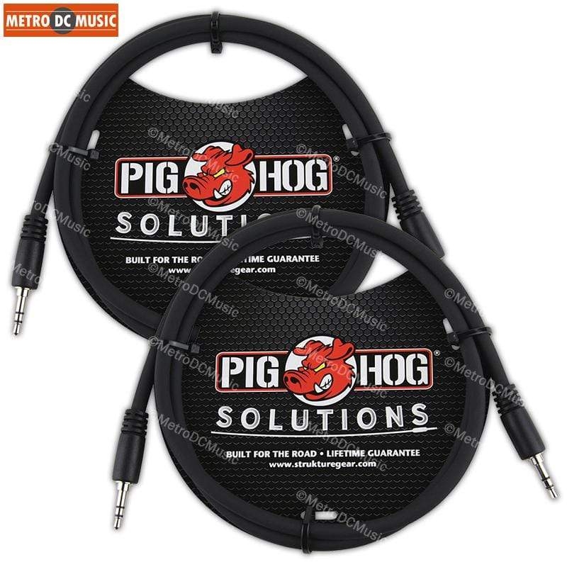 "PIG HOG INTERCONNECT CABLES 2-Pack Pig Hog 3 ft 3.5mm TRS Stereo Male Plug Cable 1/8"" Mini Patch Phone Audio"