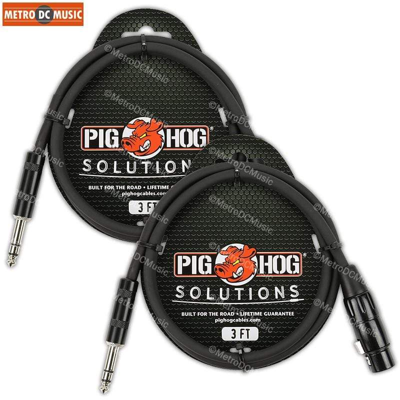 PIG HOG INTERCONNECT CABLES 2-Pack Pig Hog 3ft TRS Male to XLR Female Balanced Cable