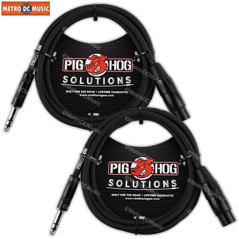 "PIG HOG INTERCONNECT CABLES 2-Pack Pig Hog 6 ft 1/4"" TRS Stereo Male to XLR Female Balanced Cable foot cord"