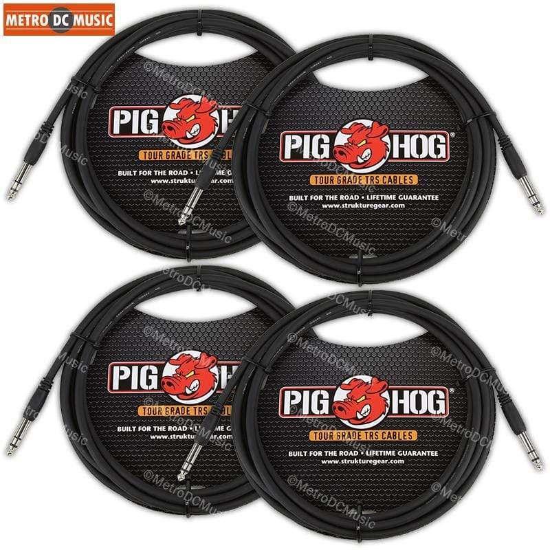 "PIG HOG INTERCONNECT CABLES 4-PACK Pig Hog 10 FT Foot 1/4"" TRS Balanced Stereo to 1/4"" TRS Cable Plug 8mm"