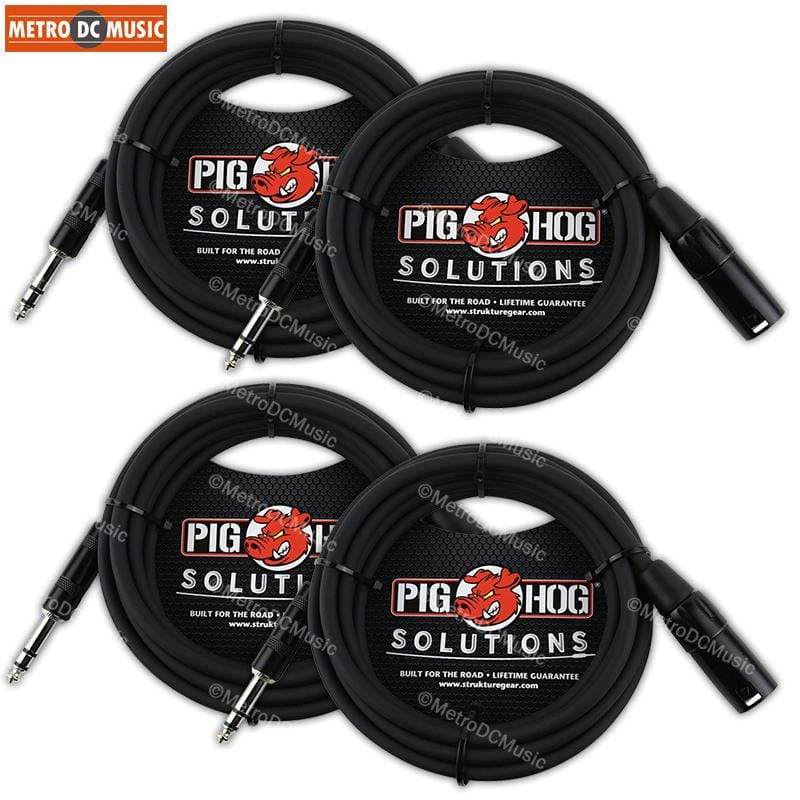 "PIG HOG INTERCONNECT CABLES 4-Pack Pig Hog 10ft 1/4"" TRS Stereo Male to XLR Male Balanced Adapter Cable Cord"