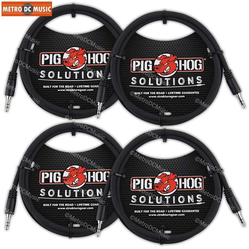 "PIG HOG INTERCONNECT CABLES 4-Pack Pig Hog 3 ft 3.5mm TRS Stereo Male Plug Cable 1/8"" Mini Patch Phone Audio"