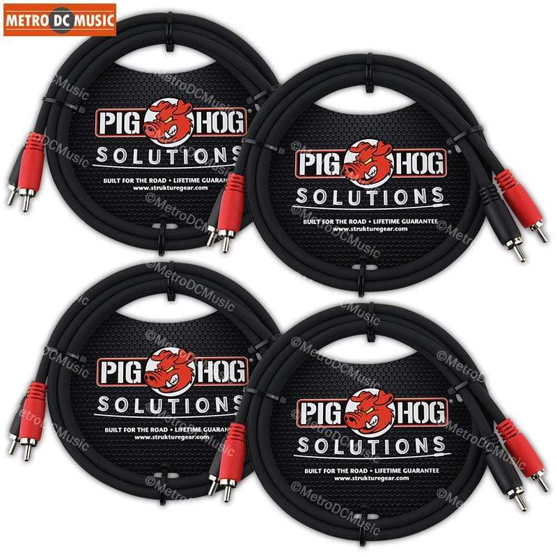 PIG HOG INTERCONNECT CABLES 4-Pack Pig Hog 3 ft RCA Dual Cable Male to Male Color Coded Red Black Heavy Duty