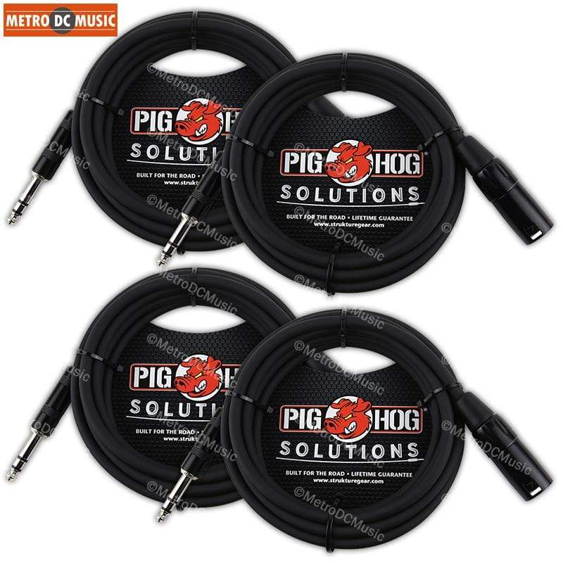 PIG HOG INTERCONNECT CABLES 4-Pack Pig Hog 50ft TRS Male to XLR Male Balanced Cable