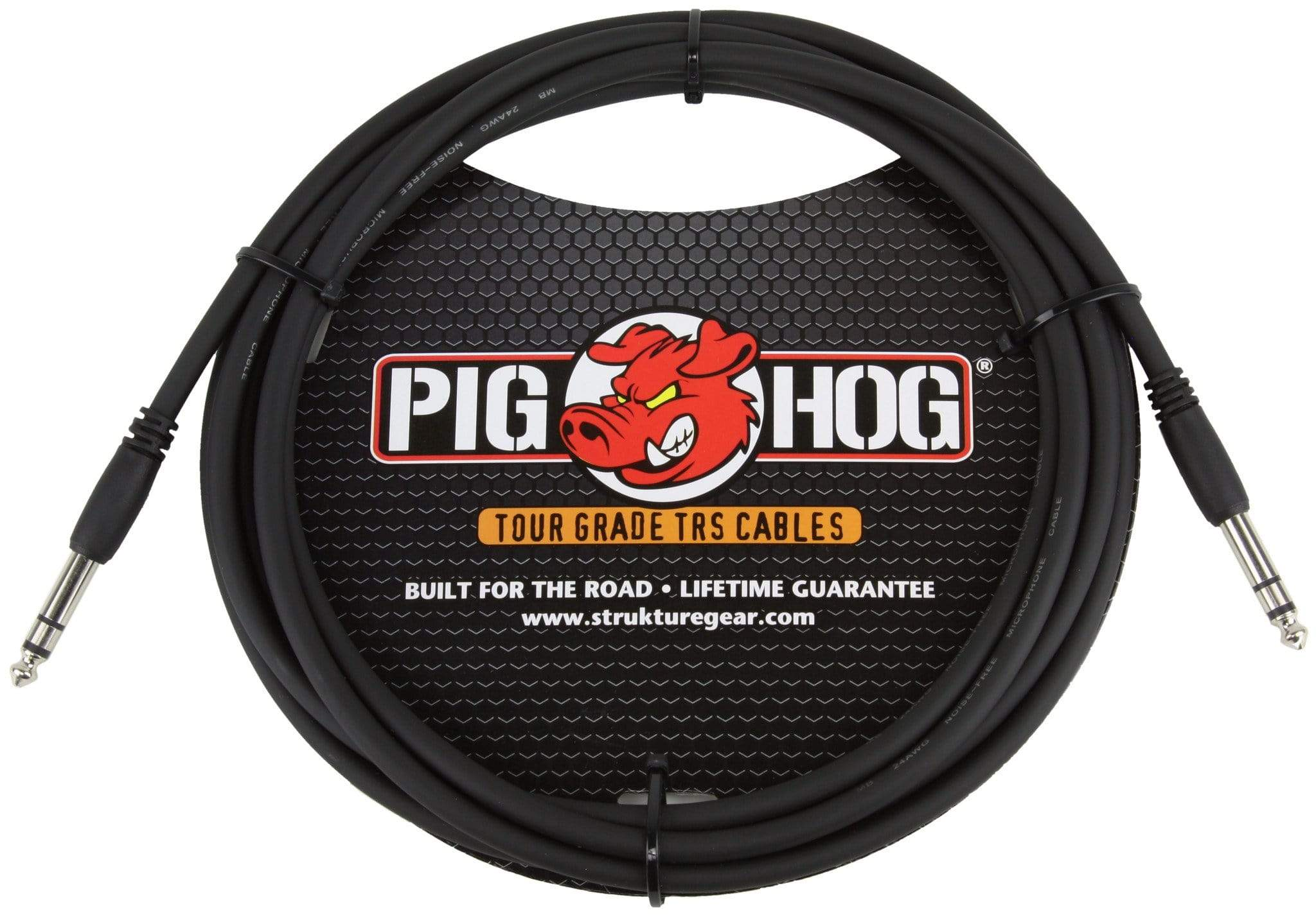 "PIG HOG INTERCONNECT CABLES Pig Hog 10 FT Foot 1/4"" TRS Balanced Stereo to 1/4"" TRS Cable Plug 8mm"