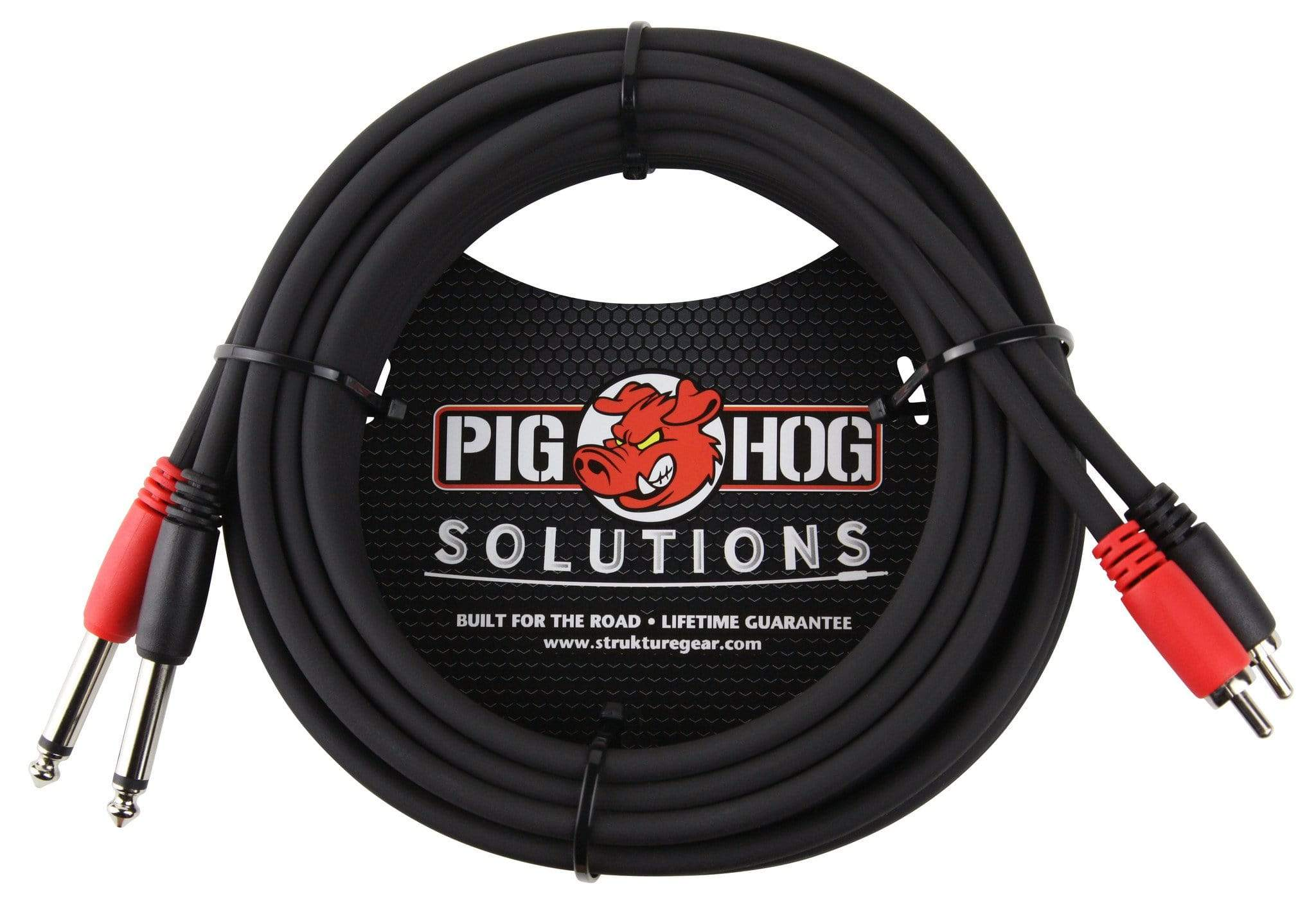 "PIG HOG INTERCONNECT CABLES Pig Hog 15 ft Dual 1/4"" Mono Male to Dual RCA Plugs Black Red Channel NEW"