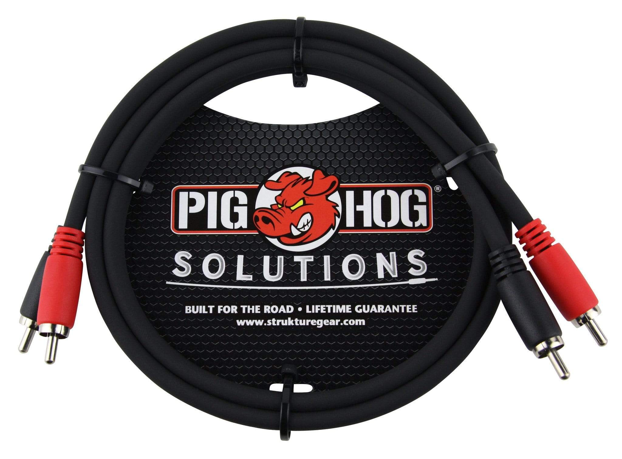 PIG HOG INTERCONNECT CABLES Pig Hog 3 ft RCA Dual Cable Male to Male Color Coded Red Black Heavy Duty PVC