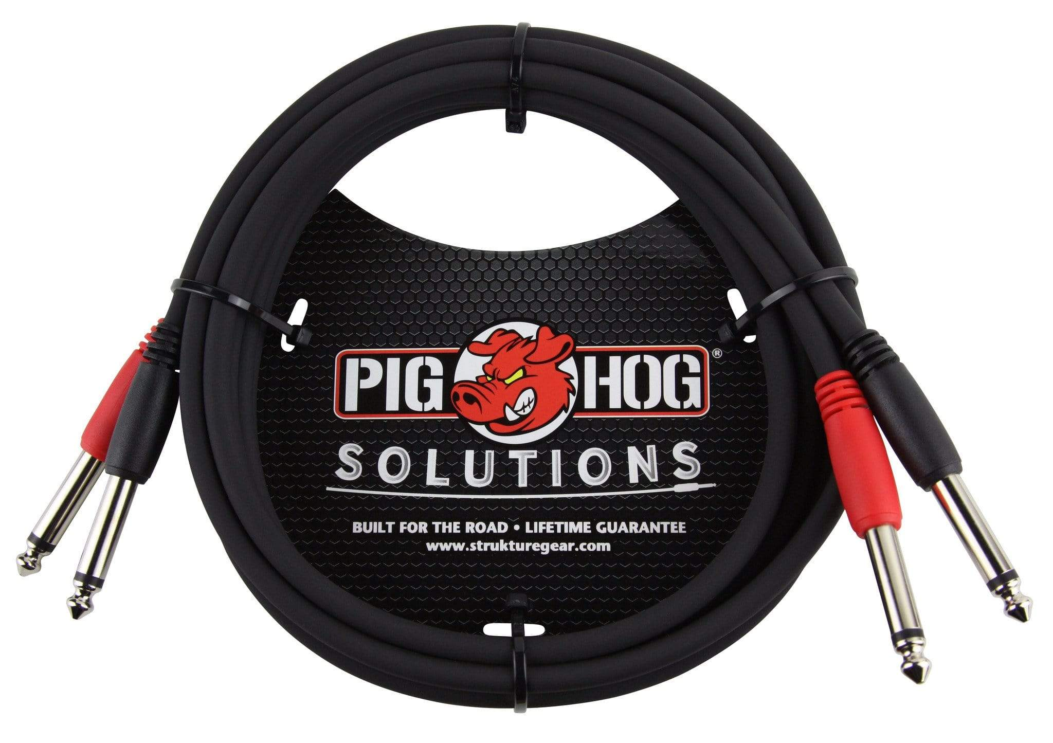 "PIG HOG INTERCONNECT CABLES Pig Hog 6 ft Dual 1/4"" Mono Male to 1/4"" Mono Male Red Black Coded for Stereo"