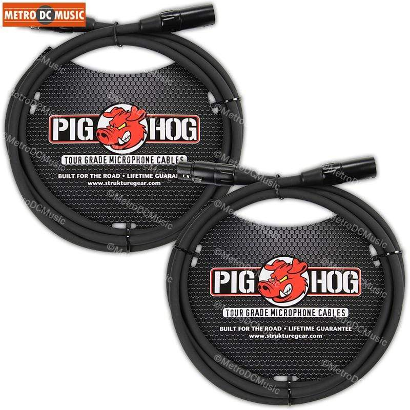 PIG HOG MICROPHONE CABLES 2-Pack Pig Hog 6ft Shielded Microphone Cable Cord XLR 8mm Tour Grade PigHog Mic