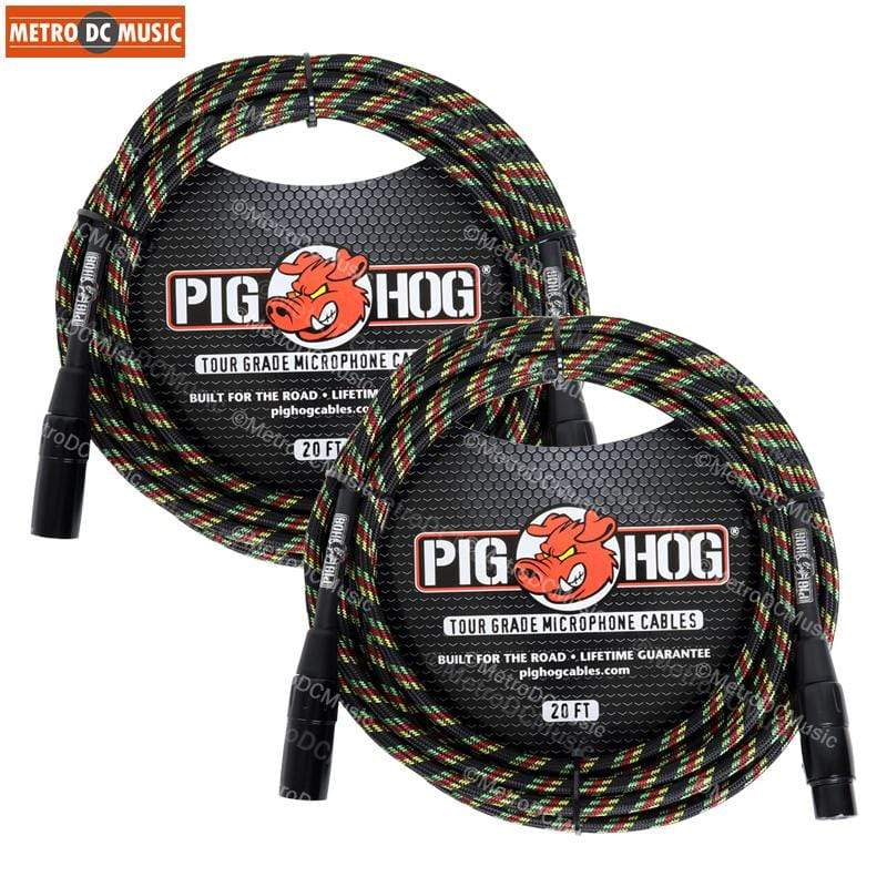 PIG HOG MICROPHONE CABLES 2-Pack Pig Hog Rasta Stripe Woven XLR Microphone Mic Cable Cord 20ft XLR