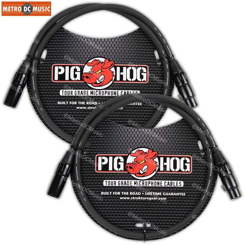 PIG HOG MICROPHONE CABLES 2 Pig Hog 3ft Microphone Cable XLR Lifetime 8mm Tour Grade PHM3 Black PigHog