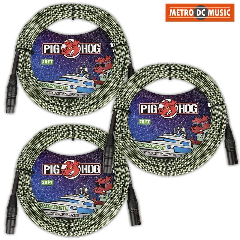 PIG HOG MICROPHONE CABLES 3-Pack Pig Hog 20ft Jamaican Green Woven Tweed XLR Microphone Mic Cable Cord