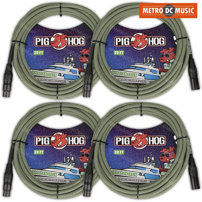 PIG HOG MICROPHONE CABLES 4-Pack Pig Hog 20ft Jamaican Green Woven Tweed XLR Microphone Mic Cable Cord